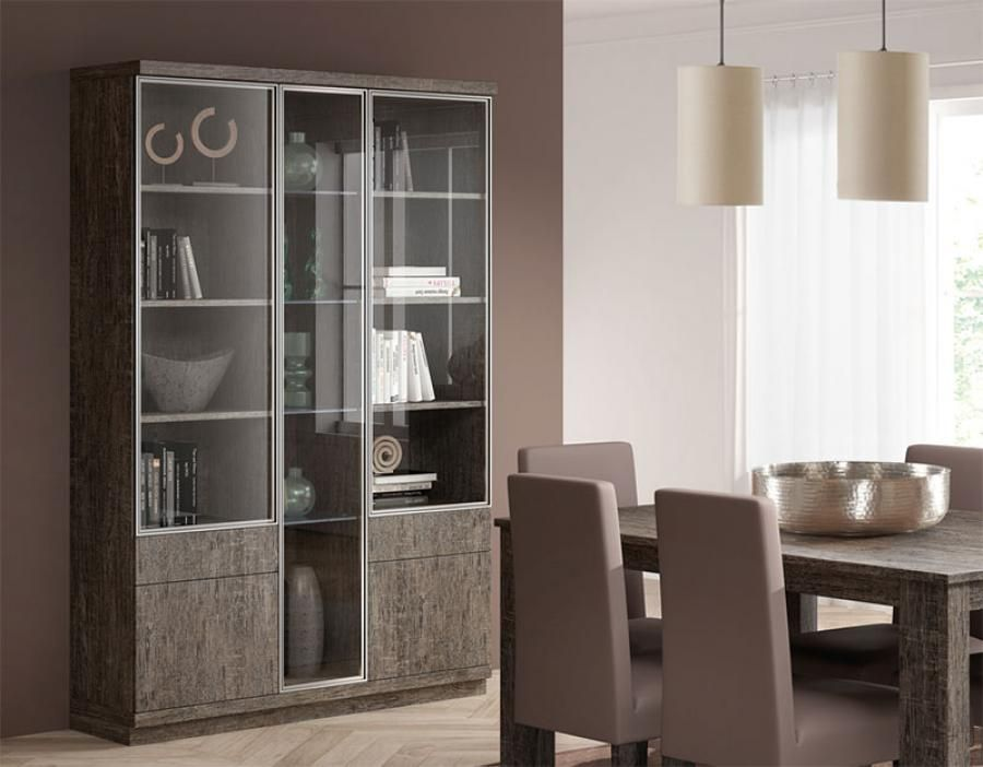 Baixmoduls Modern 3 Door Display Cabinet With Glass Doors