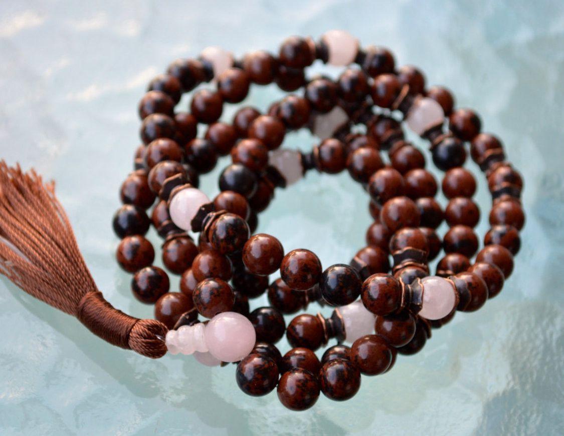 8mm Root Chakra 108 Mahogany Obsidian Rose Quartz Handmade Mantra Mala, Om Mala for Yoga Meditation - Love life, Inner Vision, Focus, Memory