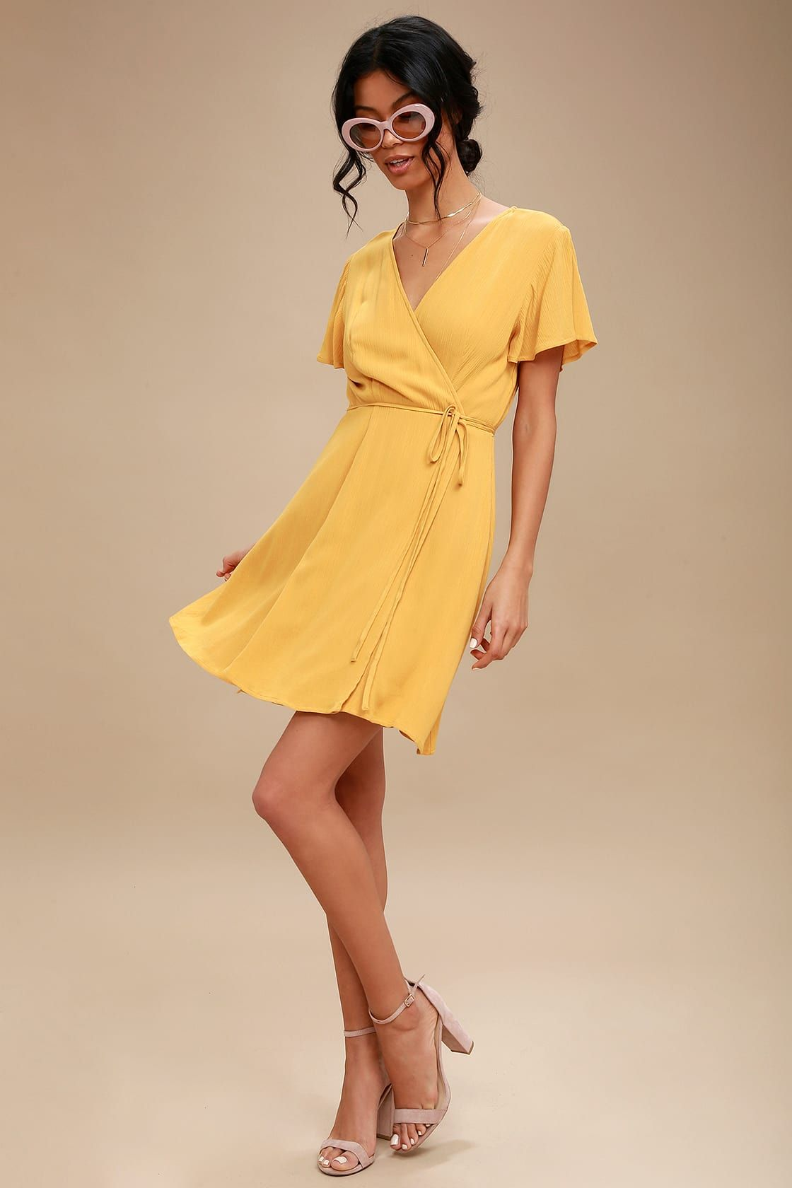 22fb697f976 Lulus | Harbor Point Mustard Yellow Wrap Dress | Size Large | 100 ...
