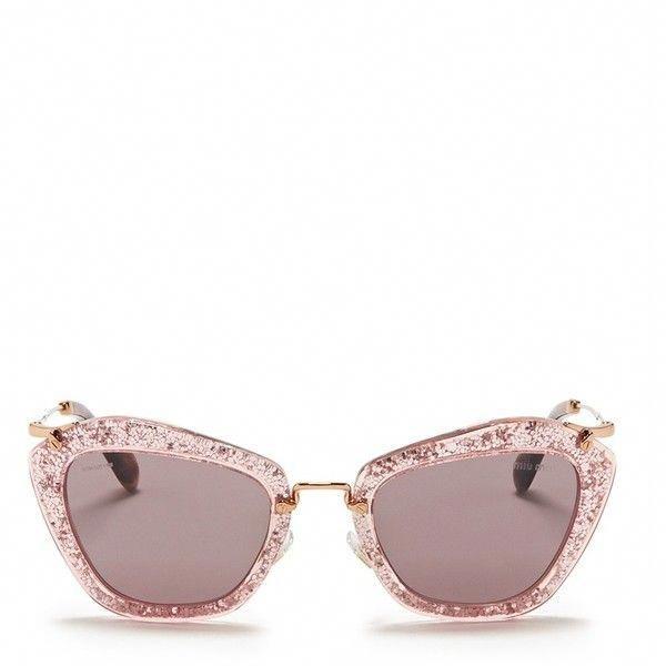 5d1d20e7453 Miu Miu  Noir  glitter cat eye acetate sunglasses ( 405) found on Polyvore