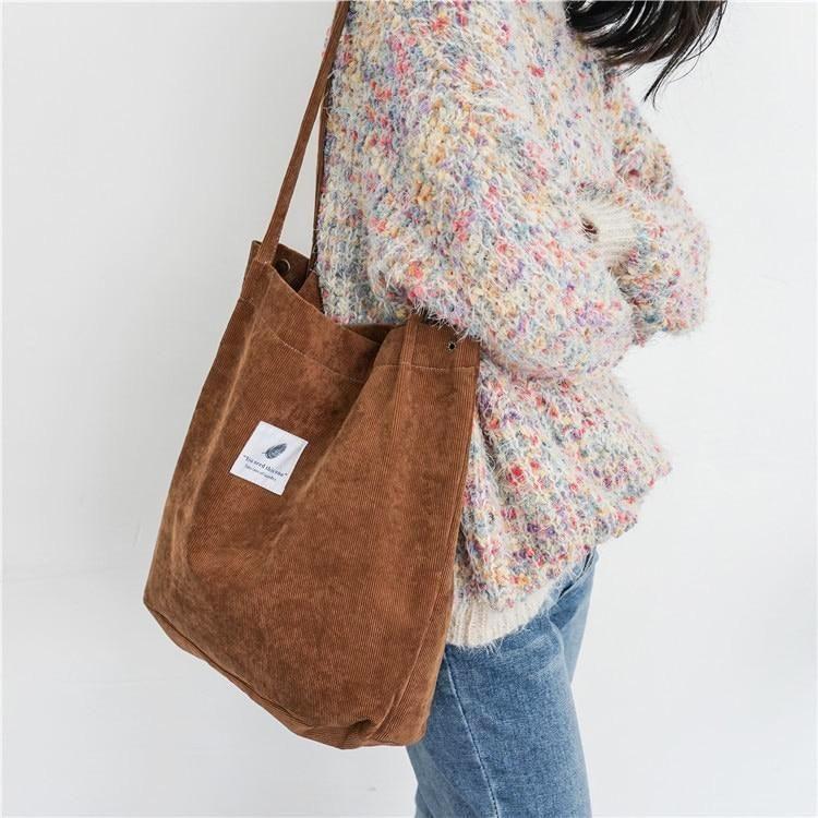 7714513a3423 Korean Style Corduroy Tote Bag (6 Colors) - Brown | Wardrobe ...