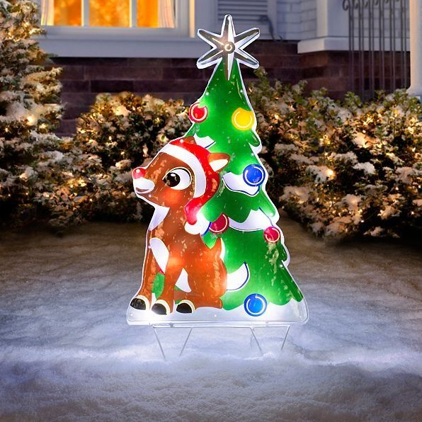 Decorate your front yard or window with the 2' Festive Rudolph Lighted outdoor  Christmas decoration. Rudolph's nose is aglow, and so is the tree behind  him. - Decorate Your Front Yard Or Window With The 2' Festive Rudolph