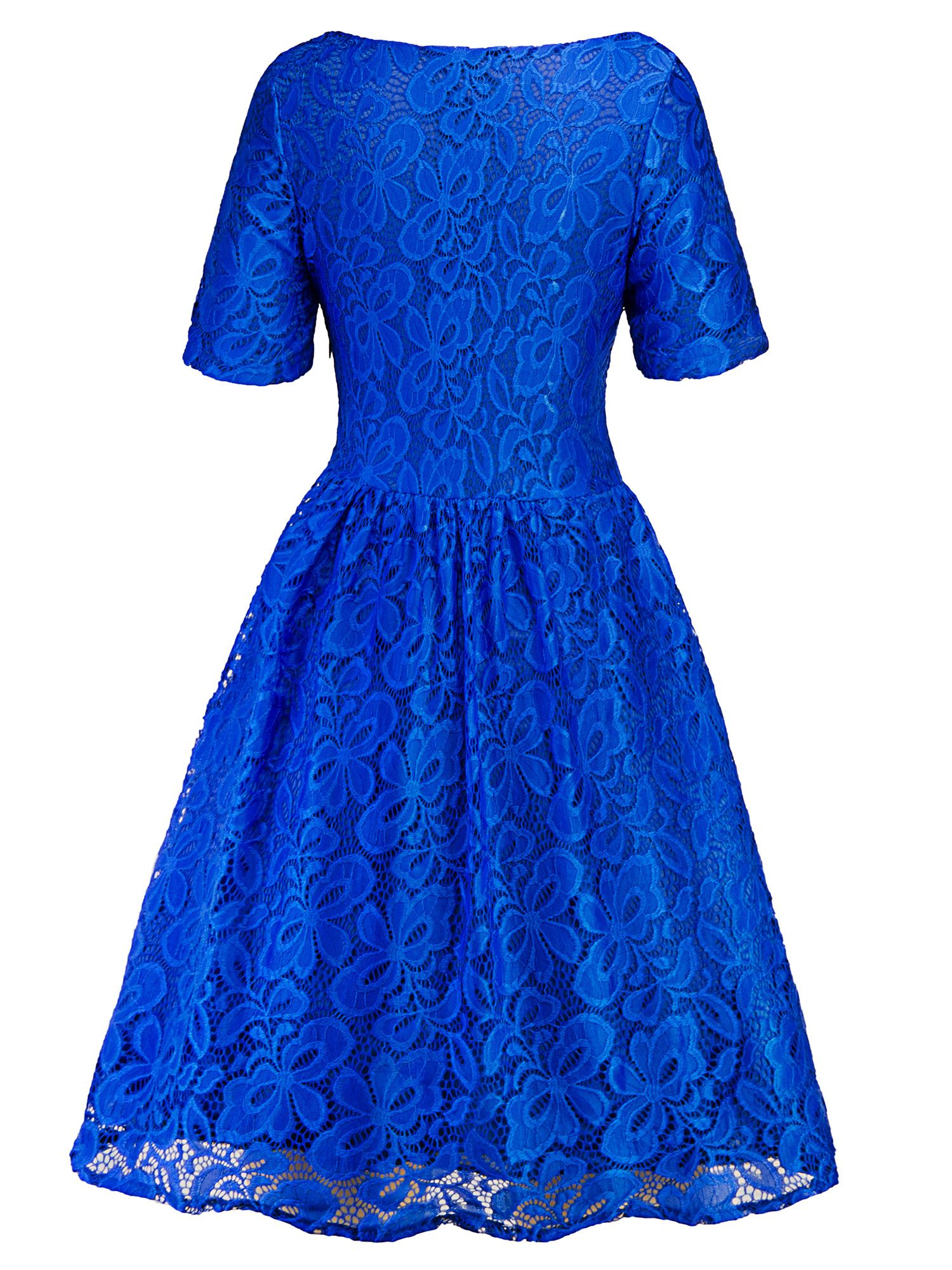 ac156d8286f Lace Dresses for Women Vintage Floral Evening Rockabilly Cocktail Skater  Party Prom Ball Gown Summer Short Sleeve Dress Evening