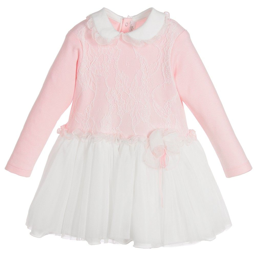 ALETTA Baby Girls Pink & Ivory Lace Dress