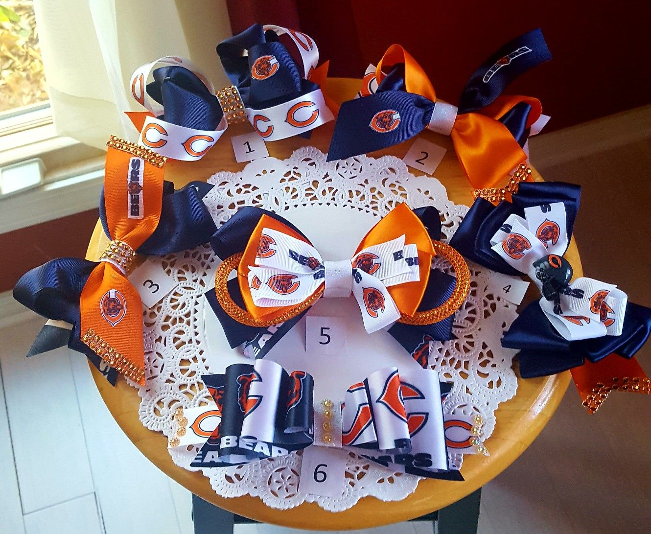 Chicago bears hair bows made by norma unique gift baskets