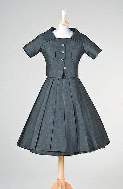An Important Yves Saint Laurent For Dior Trapeze Line Grey Wool Ensemble Spring Summer 1958 Fashion Vintage Fashion Vintage Dresses