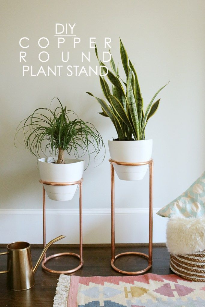 diy copper round plant stand diy blumentopf plant pot pinterest pflanzen blumenst nder. Black Bedroom Furniture Sets. Home Design Ideas