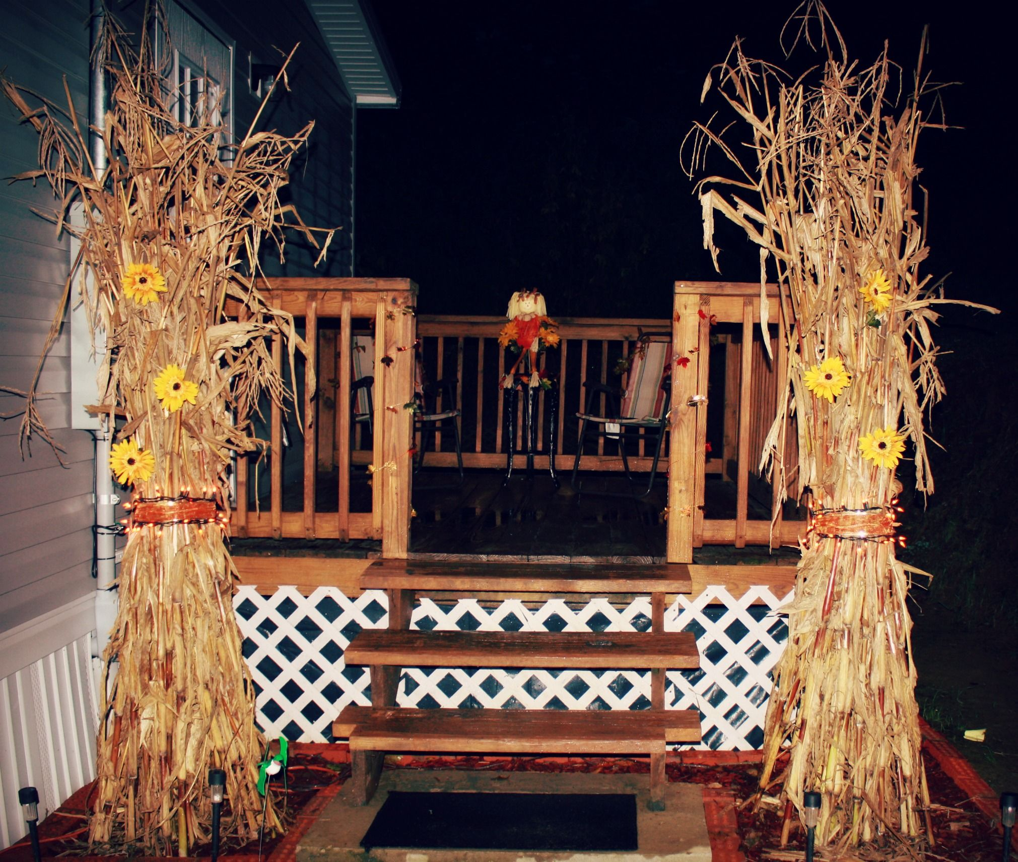 Corn Stalk Decoration Ideas: Outside Fall Decor, Corn Stalks, Fodder Shock