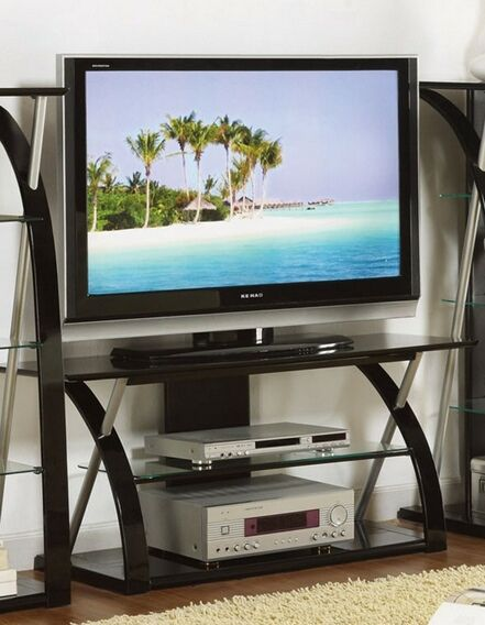 Poundex F4496 Modern Style Black Finish Wood Metal And Glass Tv