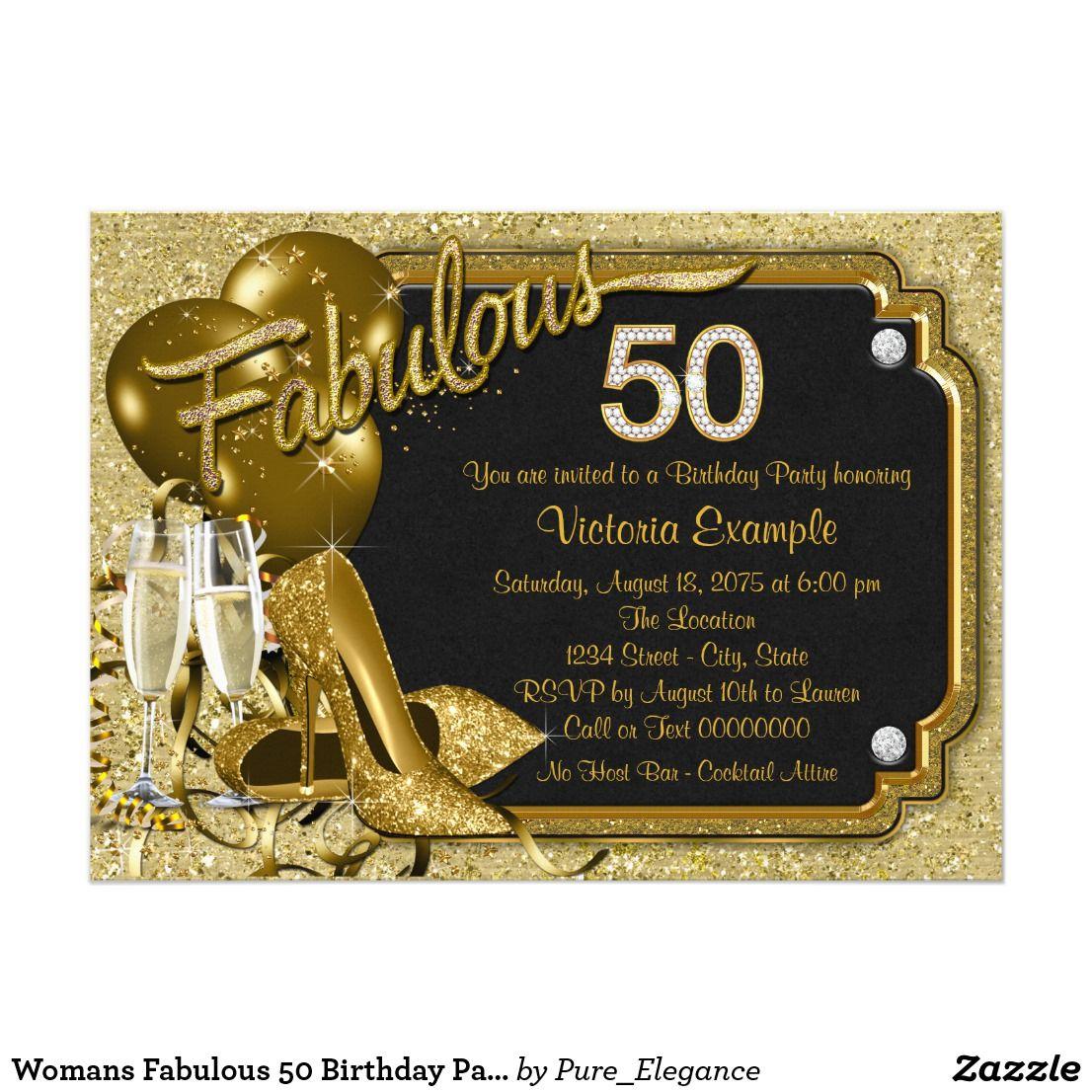 Womans Fabulous 50 Birthday Party Invitation Zazzle