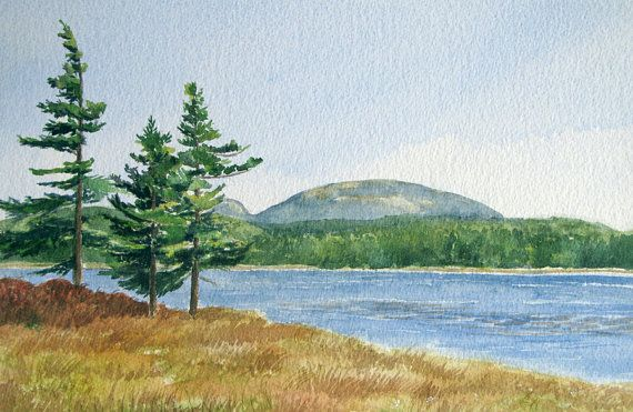 Witch Hole Pond, Acadia National Park  | Maine watercolor painting by Beth Whitney #DowneastWatercolors