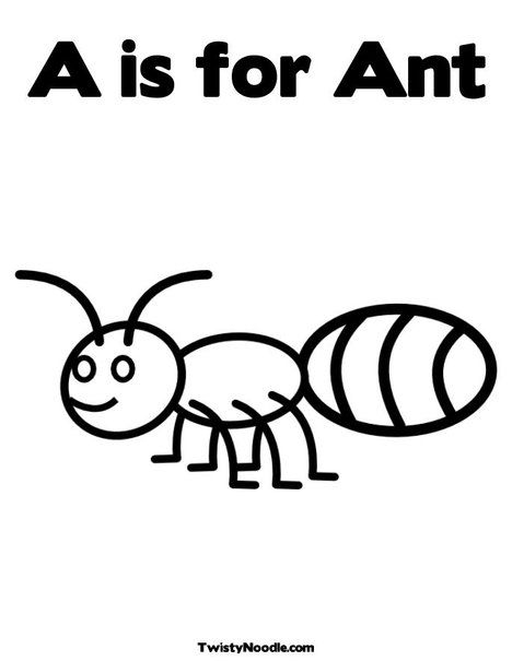A is for Ant Coloring Page from TwistyNoodlecom Kids printables