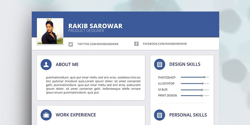 Free Material Style Resume Template Psd  Ultimate Collection Of