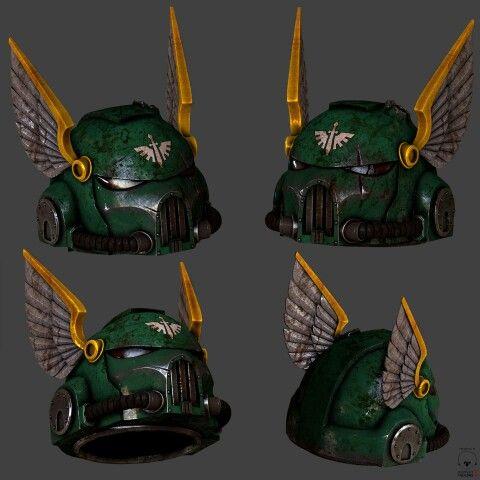 5x Ravenwing Schwarze Ritter Köpfe Helme Dark Angels Warhammer 40k Bitz B0094