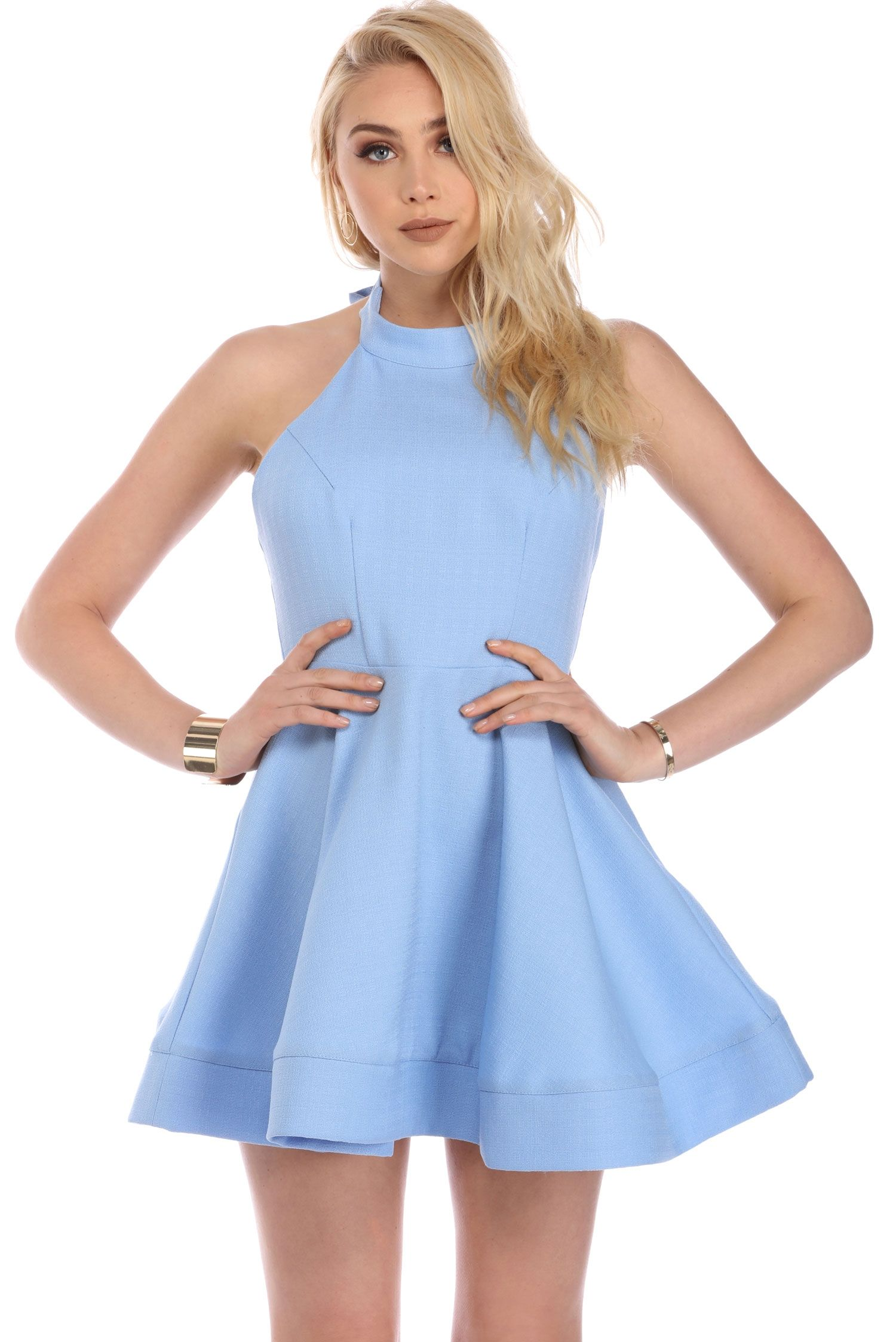 5001c385f5 Light Blue Bow Back Skater Dress