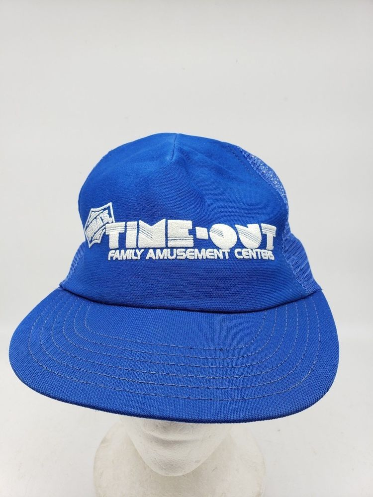 0d0e29d5dfe78 Vtg SEGA Time-Out Family Amusement Center Blue Mesh Snapback Trucker Hat   SEGA  TruckerHat