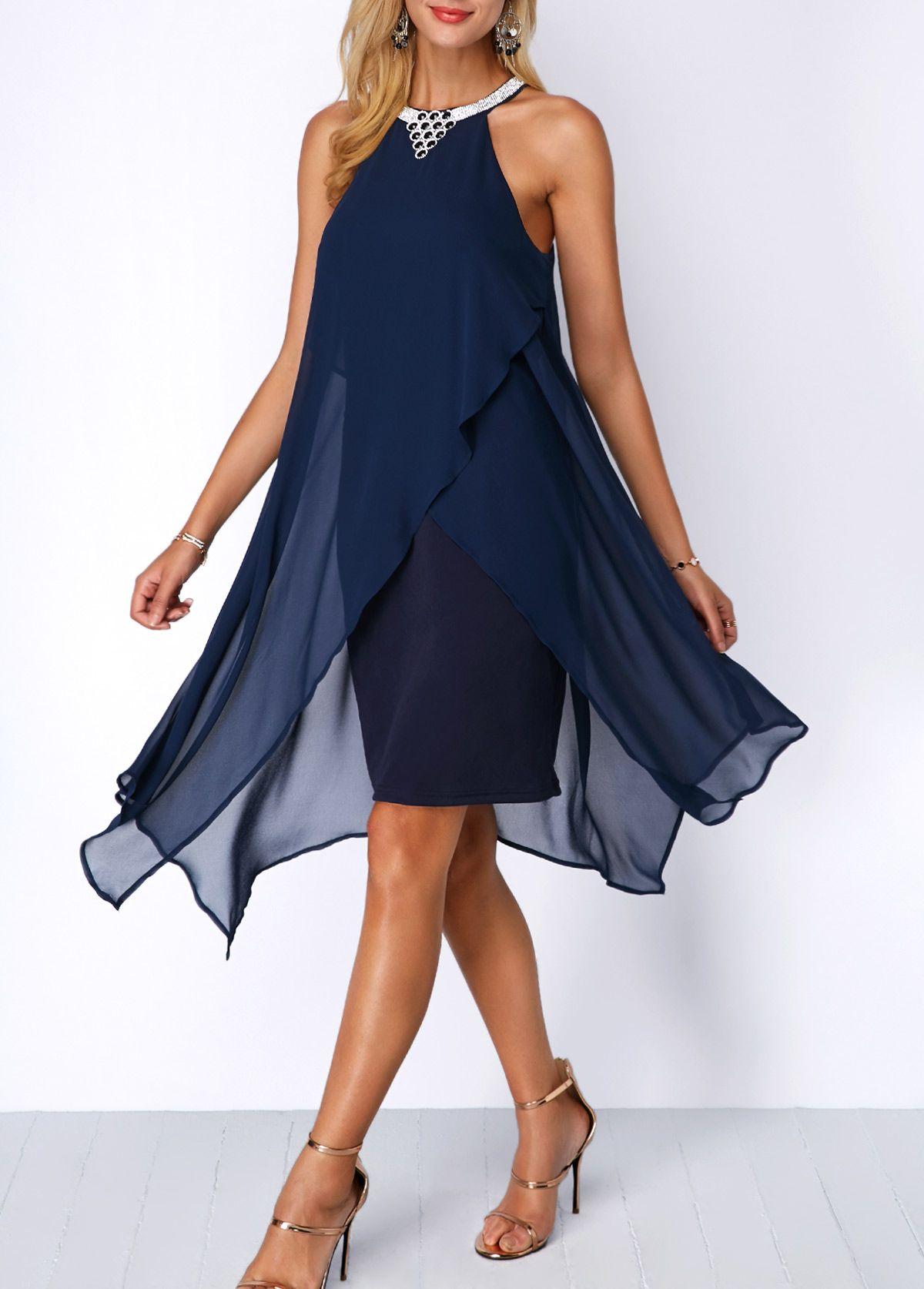 760bd5cd4c2d3 Asymmetric Hem Embellished Neck Navy Blue Chiffon Dress | Rosewe.com - USD  $35.78