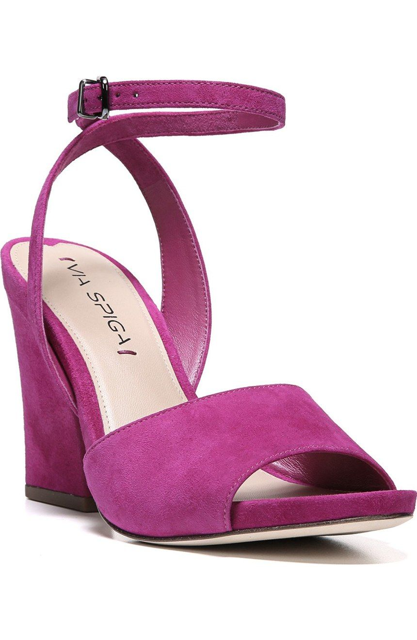 8b5837c5a08ad Totally in love with the fuchsia color of these suede sandals from Via  Spiga. A