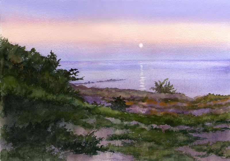 Mary Ellen Golden, Moonset original watercolor