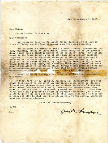 Resignation letter from Jack London to members of the Socialist - membership resignation letter