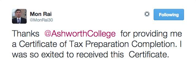 ashworthcollege preparation tax certificate college ashworth congratulations receiving edu student