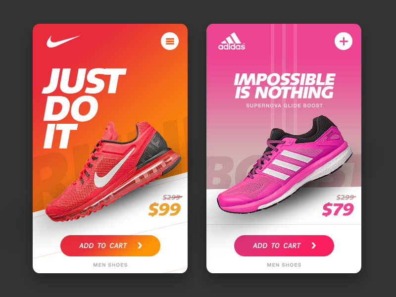 Nike vs Adidas UI Shoes Adidas, Ui ux and Ux design