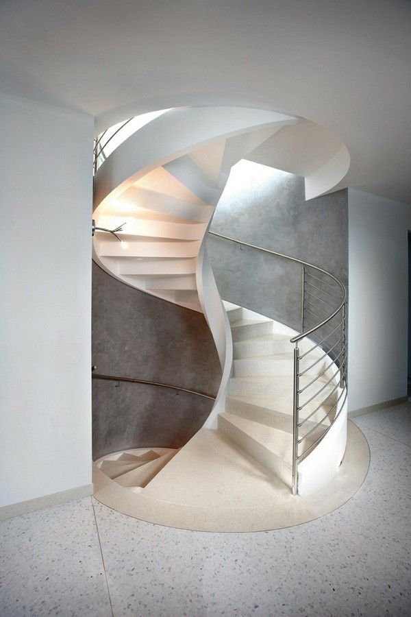 Spiral Stairs White Staircase Modern Spiral Marble Concrete