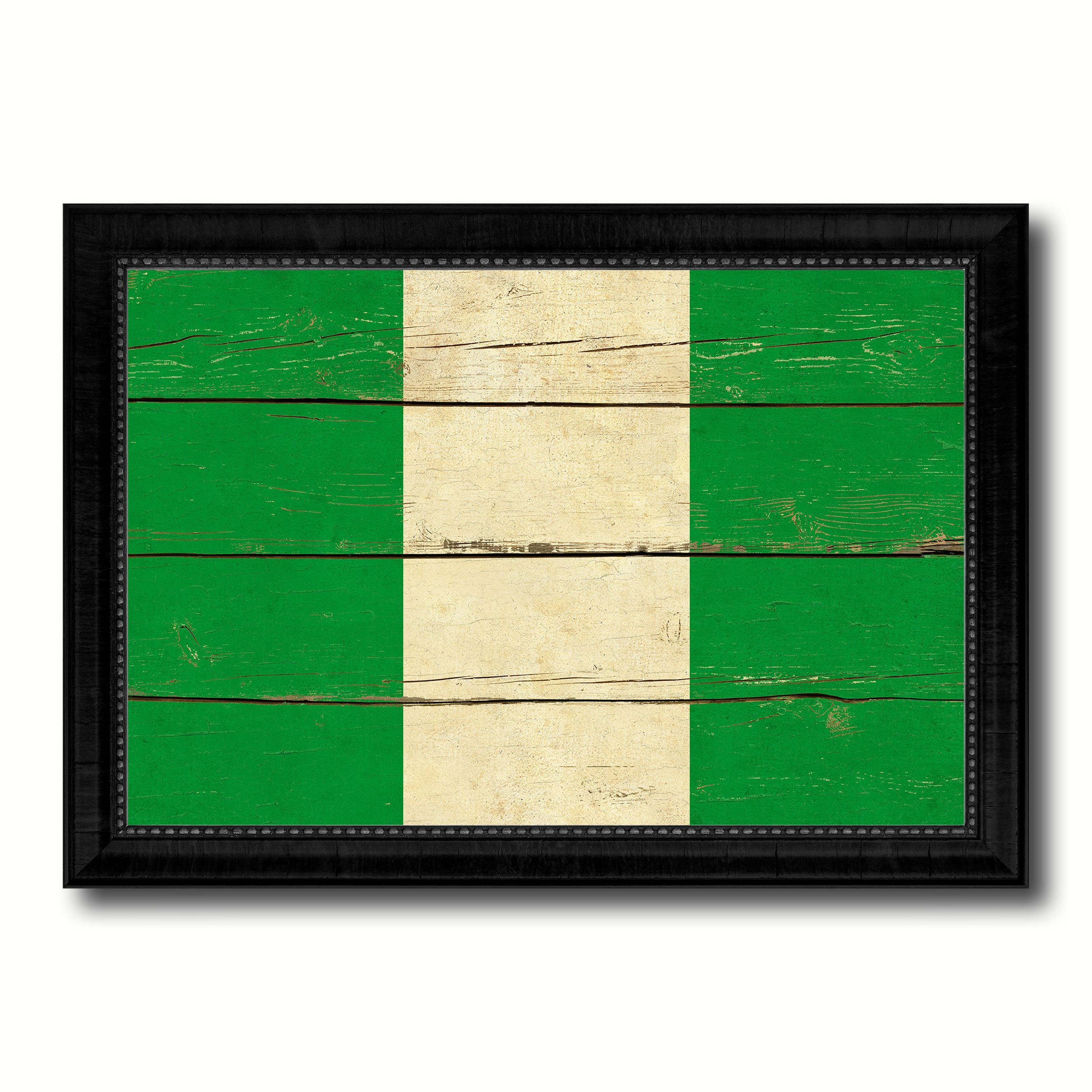 Nigeria Country Flag Vintage Canvas Print with Black Picture Frame ...