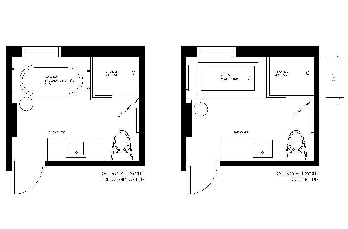 Bathroom Design 7' X 8' narrow master suite layout | before & after: e-design bathroom