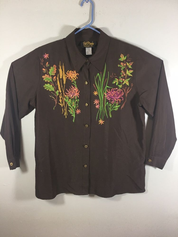 78b48fc3274ec Bob Mackie Wearable Art Floral Embroidered Brown Long Sleeve Shirt Blouse  Large  fashion  clothing