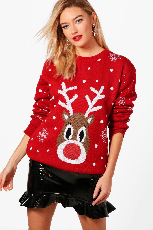 Womens Snowflake Reindeer Christmas Sweater Red S/M