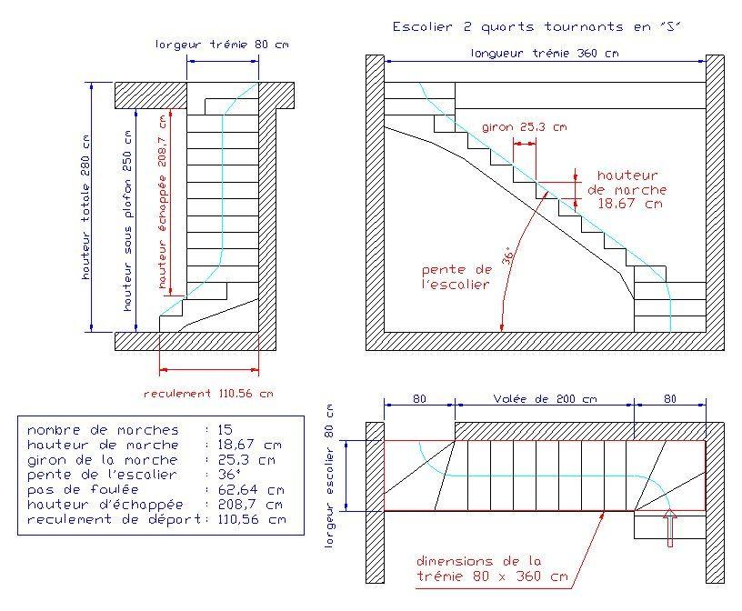 Calcul d 39 un escalier multi vol es bricolage pinterest calcul escaliers et conception des - Dimension escalier colimacon ...
