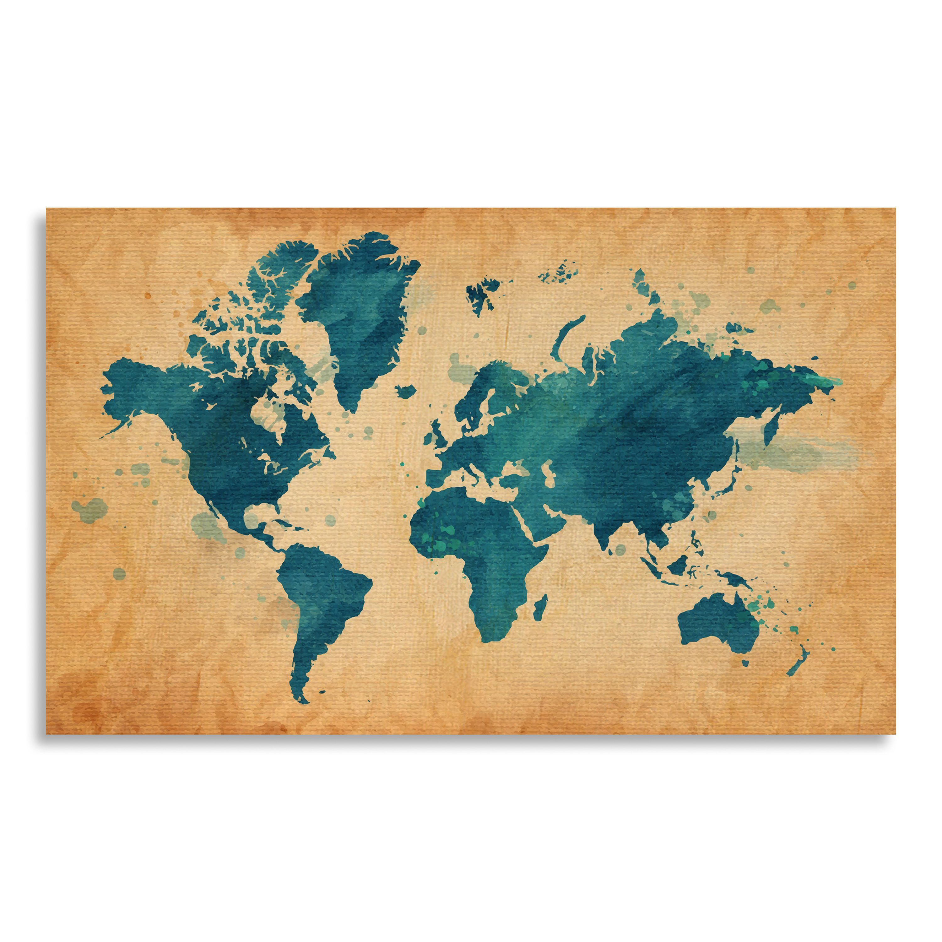 Gallery Direct Map of The World with a Textured Background and ...