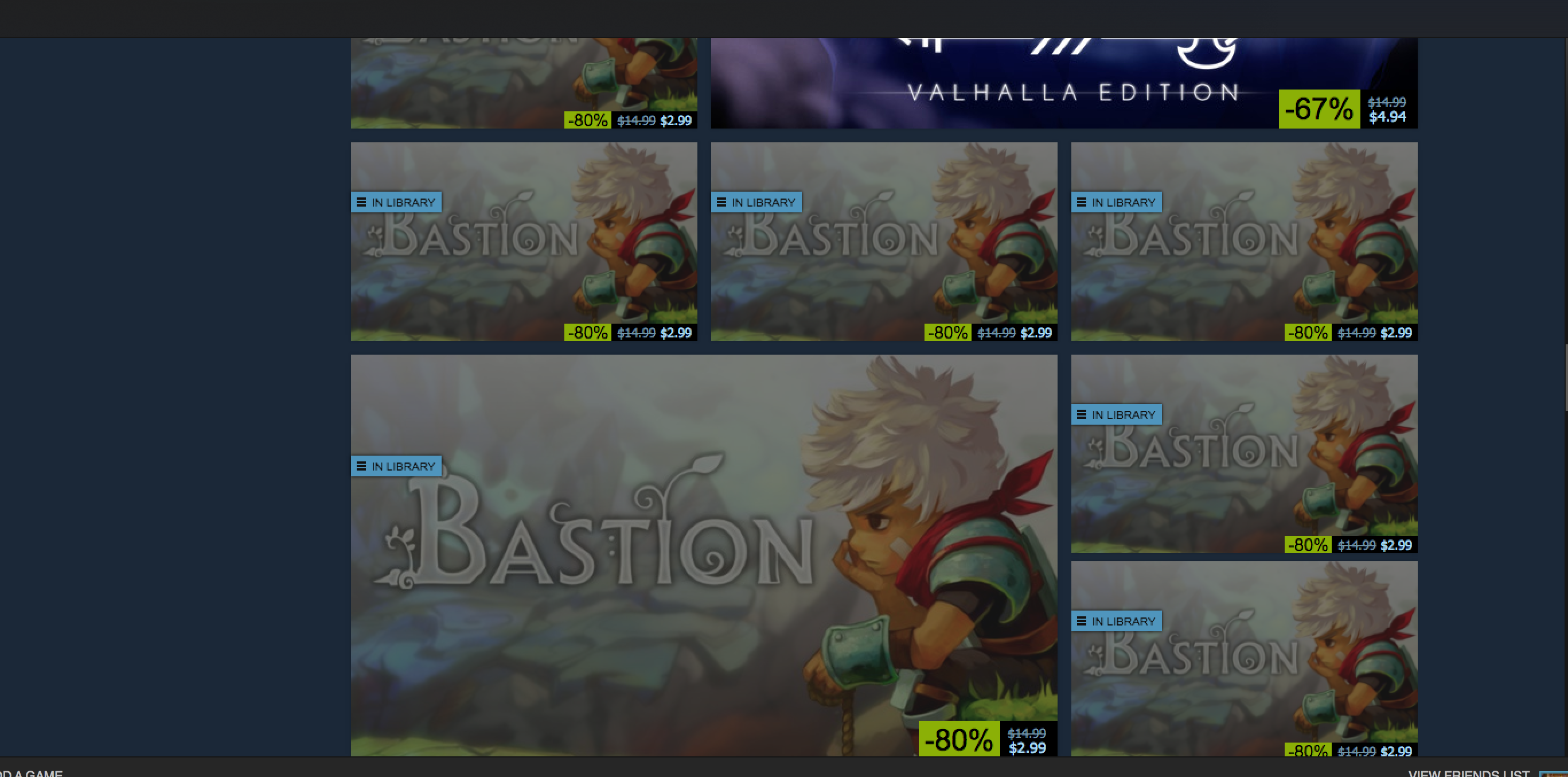 Just making sure I know that the game I own is on sale.