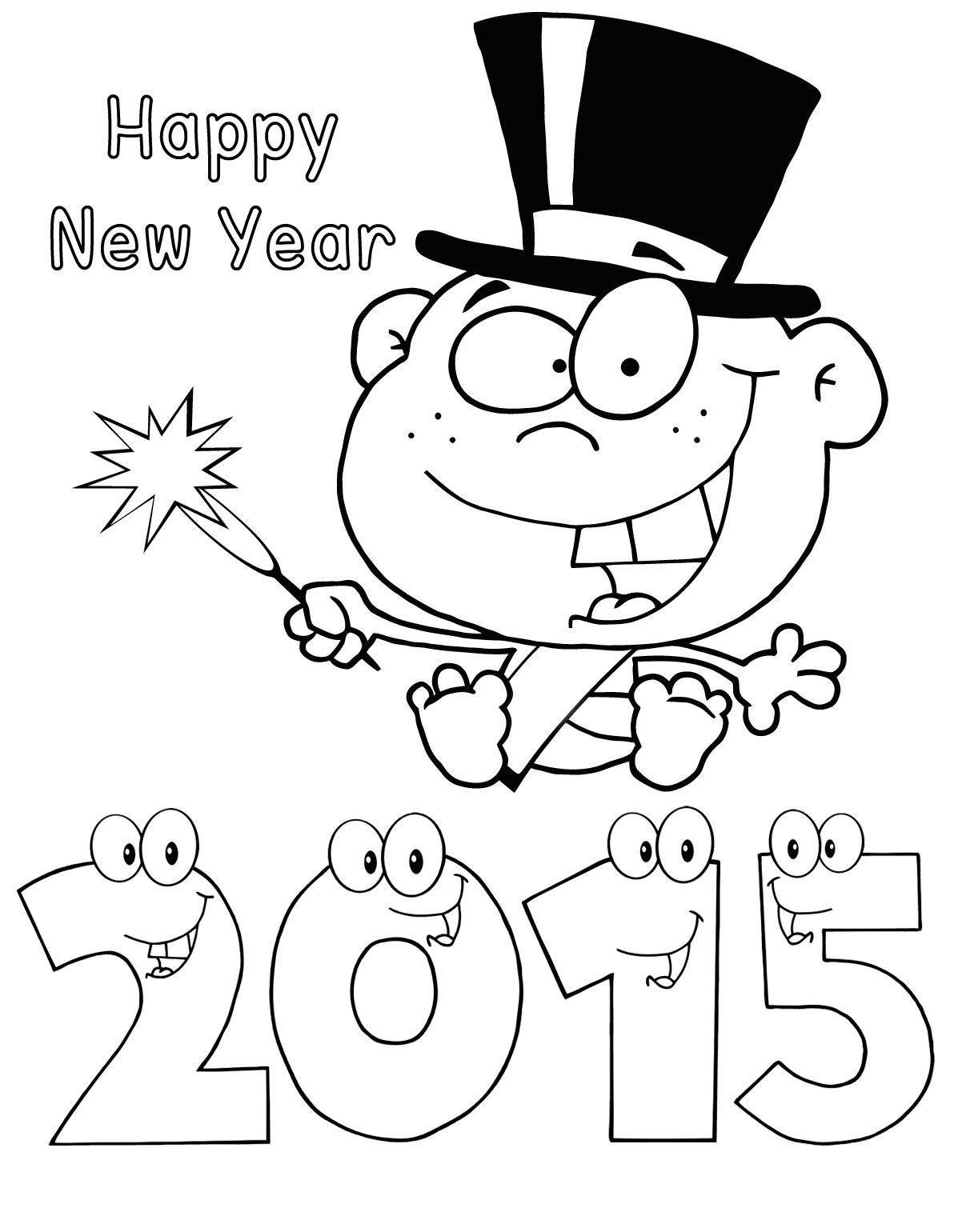 2015 happy new year coloring pages printable