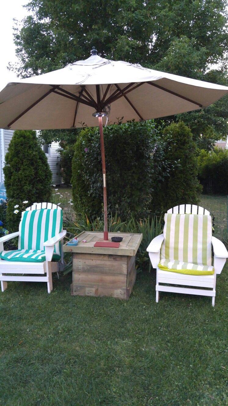 Pallet Umbrella Stand Table Outdoor Decor Patio Umbrella Backyard