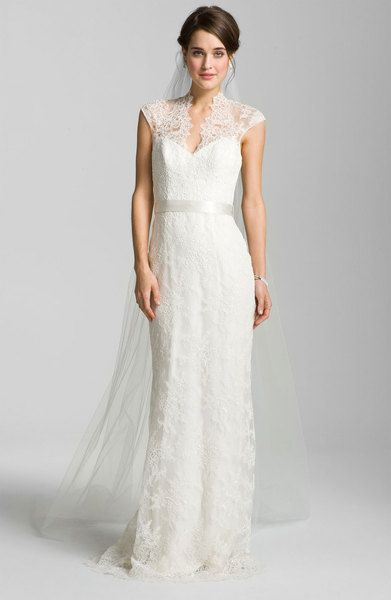 c68aa4a8fbd Theia Theia Lace Overlay Cap Sleeve Gown in White (ivory) - Lyst ...