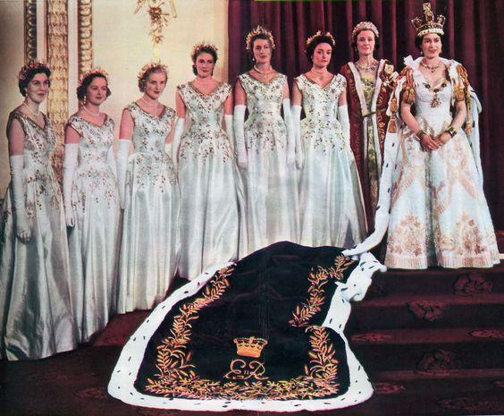 Queen Elizabeth Ii With Her Coronation Maids Of Honour