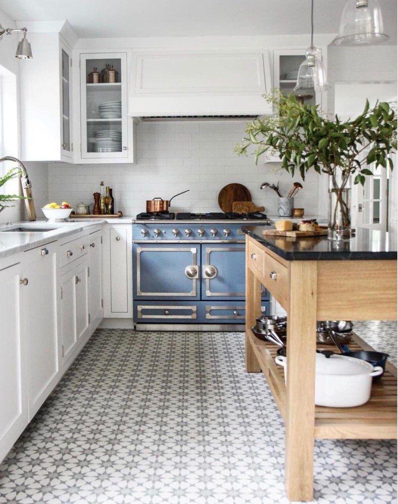 Kitchen With Small Sunburst Floor Tile   TheBestWoodFurniture.com ...