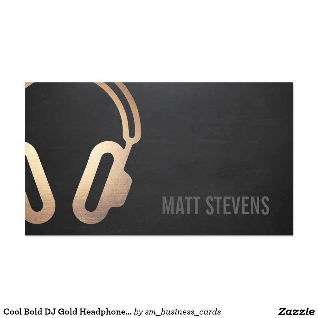 Cool bold dj gold headphones black music business card waves band cool bold dj gold headphones black music double sided standard business cards pack of this great business card design is available for customization reheart Image collections