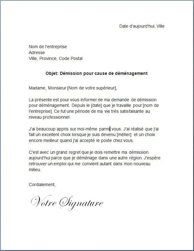 Lettre De Demission Pour Demenagement Docutexte Personalized Items Person