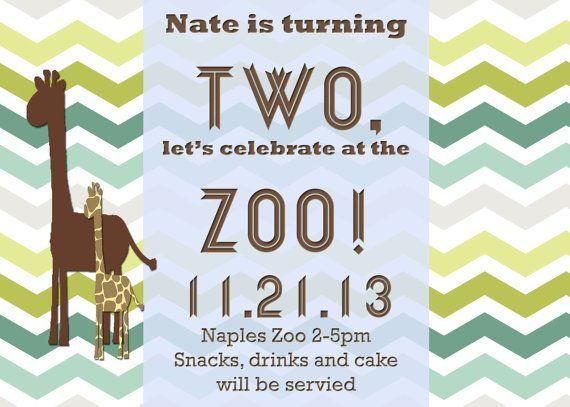 Zoo Party Birthday Party Invitation Hard Copy or by DashCompany