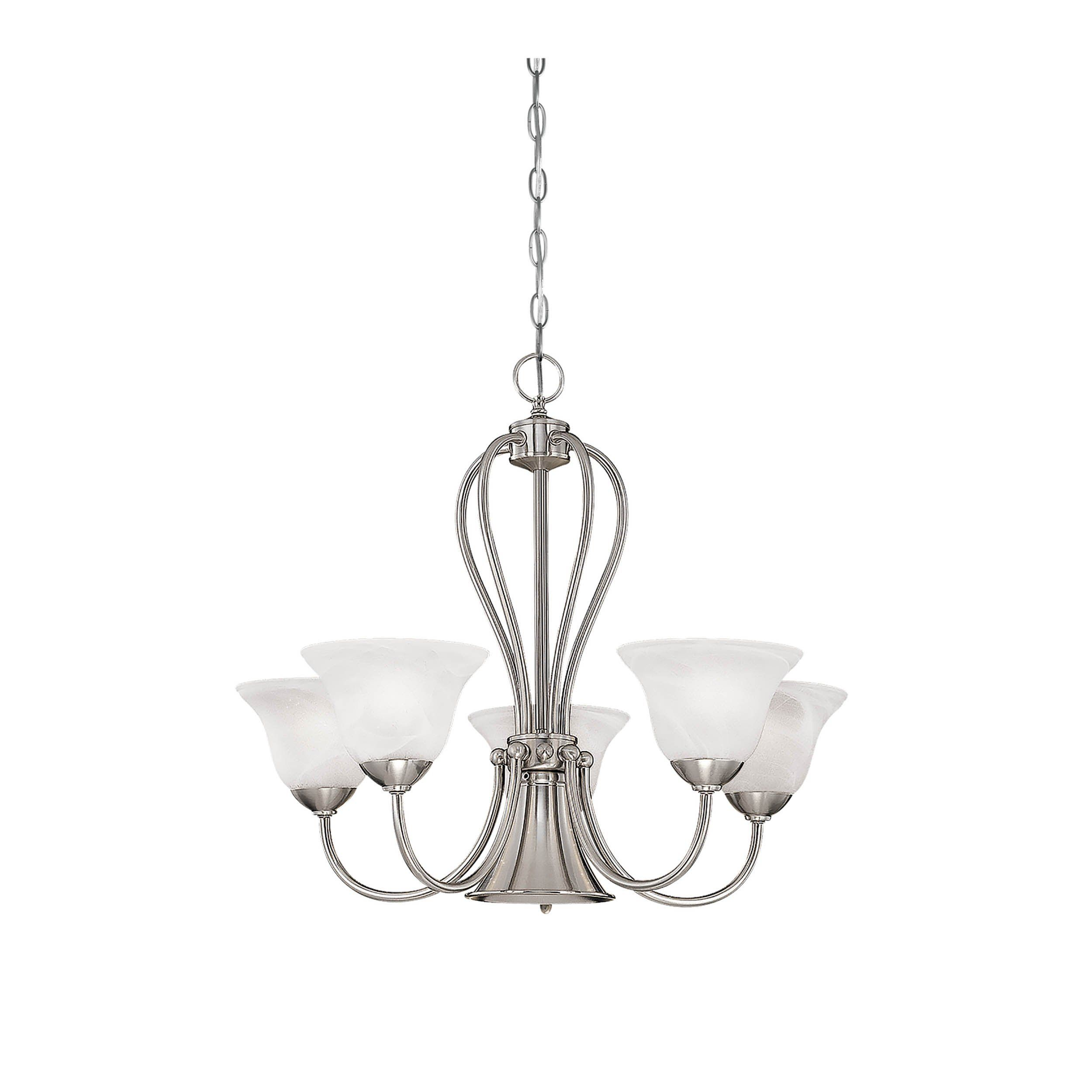 Millennium 5 Light Satin Nickel Chandelier With Center