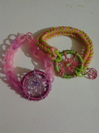 Rainbow Loom Bracelets With Dream Catcher And Peace Sign