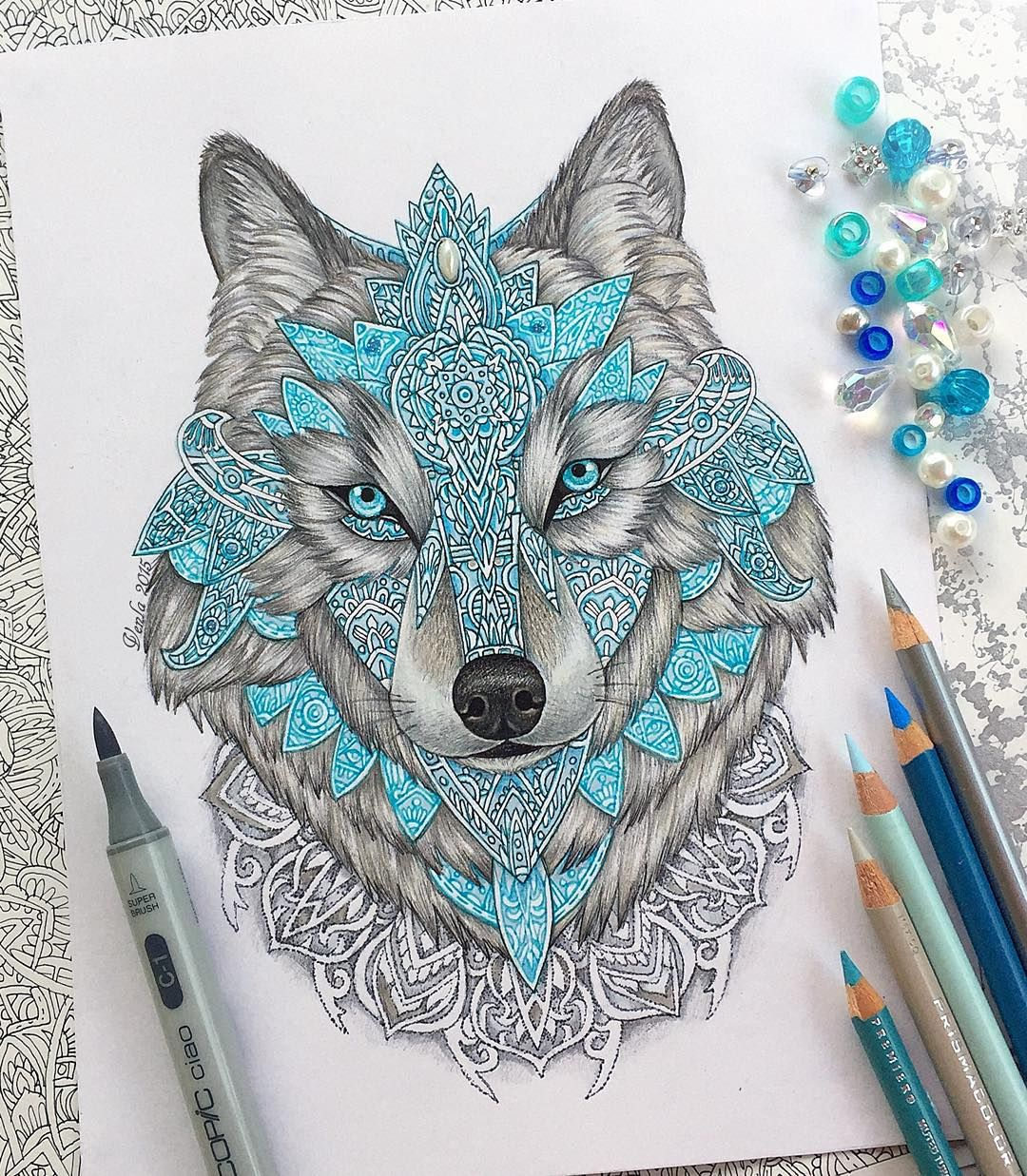 """""""Wolf drawing done with prismacolors, copics and some stabilos! Really like drawing mandalas, should I make more drawings like this? #wolfmandala…"""""""