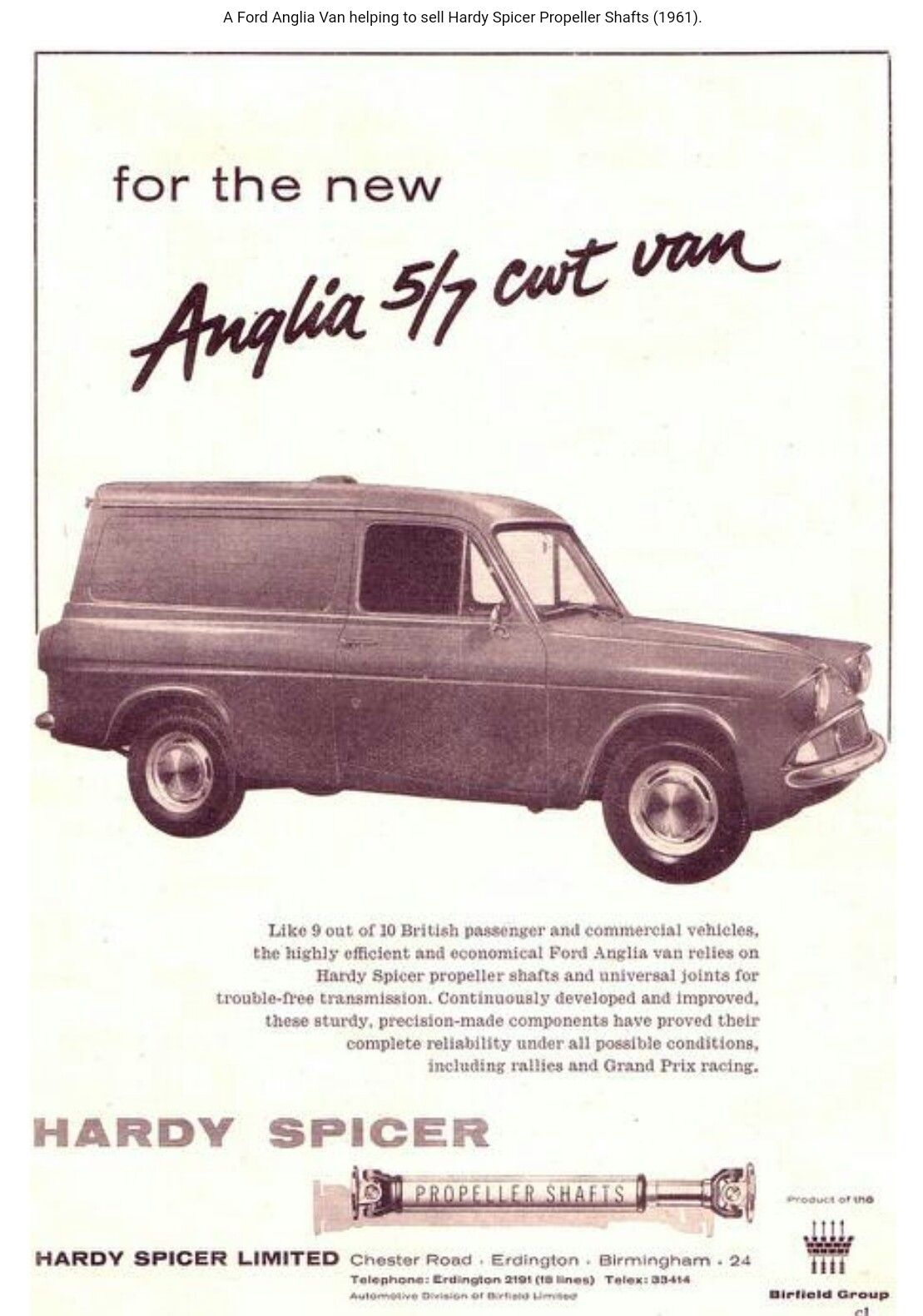 1961 Ford Anglia Thames 307e Ford Anglia Commercial Vehicle Car Advertising