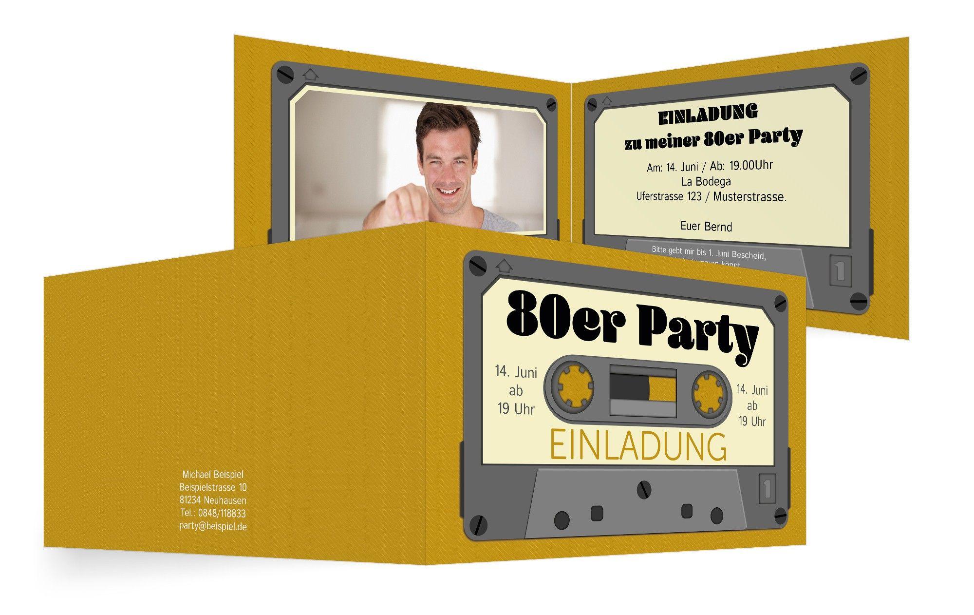 Einladungskarte Kassette 80er Party Einladung 80er Party Party