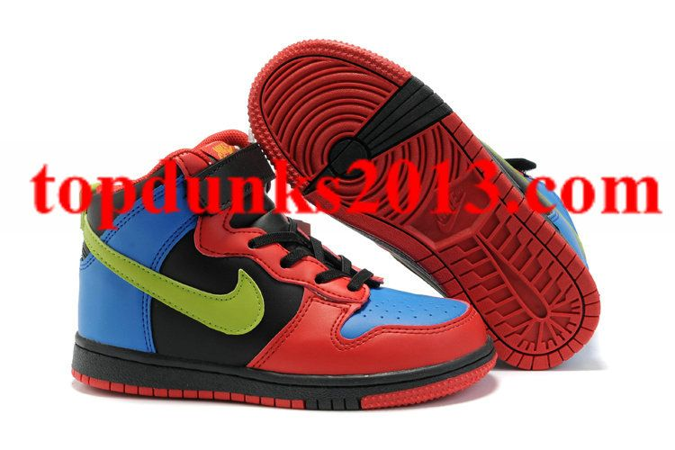 promo code 7dd31 b7697 Discount Black Red Blue Green Nike Dunk High Top Kids