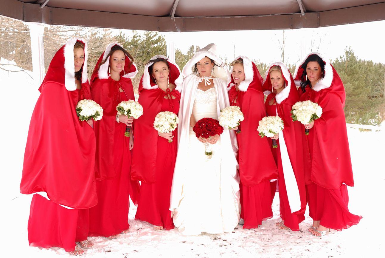 Bride With Bridesmaids In Winter Scene, Red Cape, White