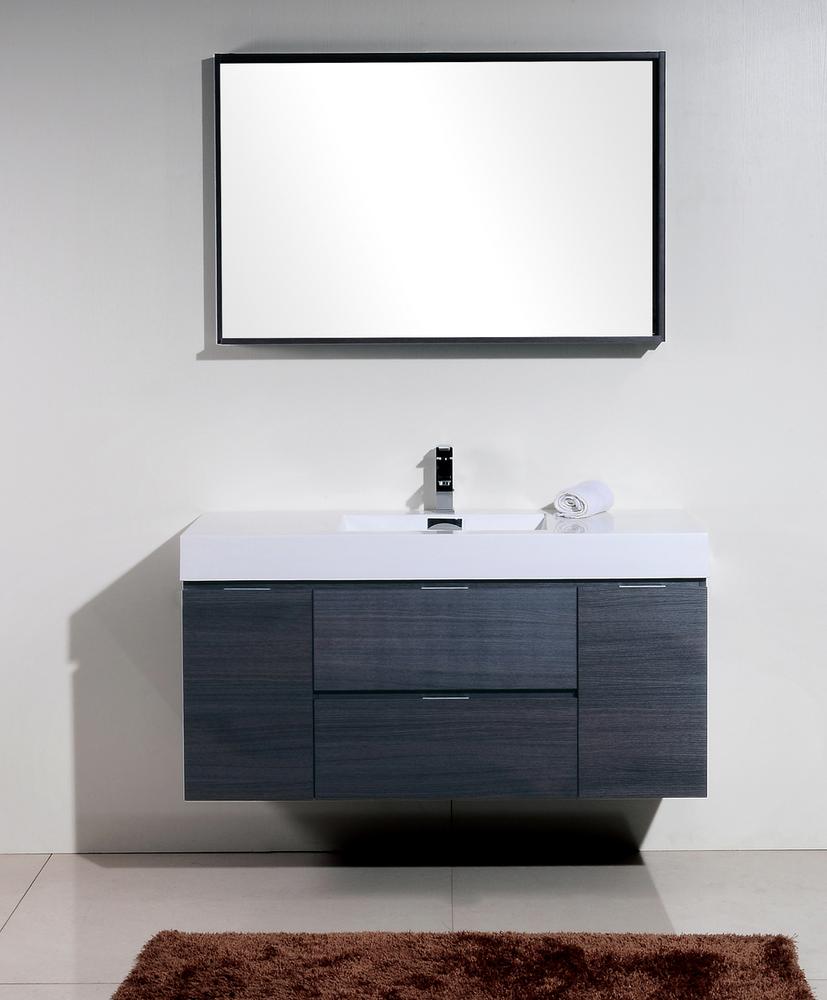Bliss 48 kubebath grey oak wall mount modern bathroom vanity the vanity store inc